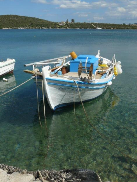 4. Greek fishing boat and seagulls